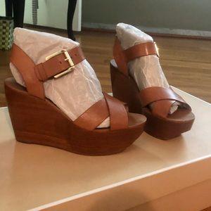 Michael Kors Abbott Leather Wedge- Size 8